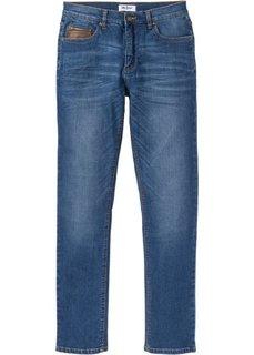 Джинсы-стретч Slim Fit с деталями из искусственной кожи, cредний рост (N) (синий) Bonprix