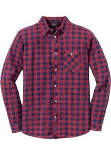 Рубашка Slim Fit с длинным рукавом (темно-красный в клетку) Bonprix