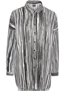 Блузка с приспущенным плечевыми швами (белый/черный в полоску) Bonprix
