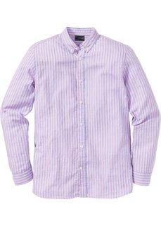 Рубашка Regular Fit с длинным рукавом, в полоску (розовый/синий в полоску) Bonprix