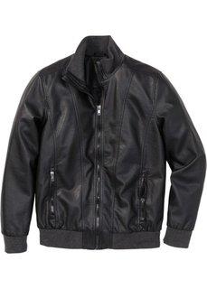 Куртка Regular Fit из искусственной кожи (черный) Bonprix