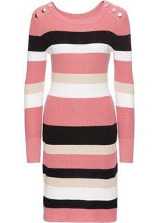Платье в полоску (дымчато-розовый/белый/черный в полоску) Bonprix
