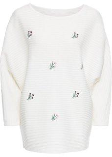 Пуловер с цветочной вышивкой (кремовый) Bonprix