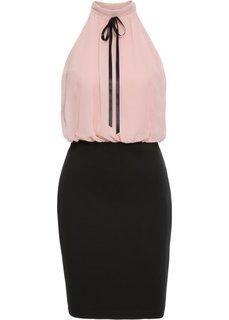 Платье с шифоновым лифом (винтажно-розовый/черный) Bonprix