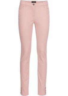 Брюки-дудочки эластичные со шнуровкой по нижнему краю (розовый) Bonprix