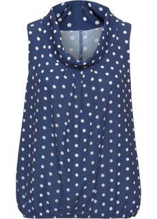 Блузка без рукавов (полуночная синь/кремовый в горошек) Bonprix