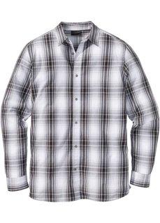Рубашка Regular Fit с длинным рукавом, в клетку (серый/белый в клетку) Bonprix