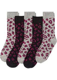 Женские носки (5 пар) (светло-серый меланж/черный с узором) Bonprix
