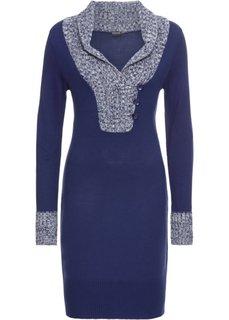 Платье вязаное с воротником (синий) Bonprix