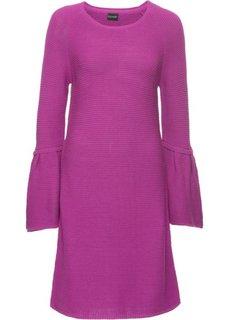 Платье вязаное с воланами (ягодно-красный) Bonprix