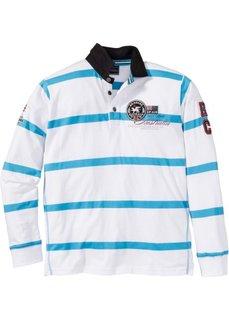 Футболка-поло Regular Fit с длинным рукавом (белый/бирюзовый в полоску) Bonprix