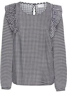 Блузка с воланами (черный/белый в клетку) Bonprix