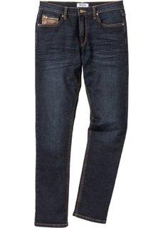 Джинсы-стретч Slim Fit с деталями из искусственной кожи, cредний рост (N) (темно-синий) Bonprix