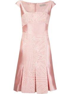 lace inserts pleated dress Martha Medeiros
