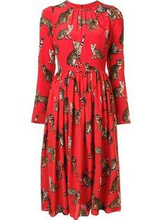 платье с принтом кошек Dolce & Gabbana