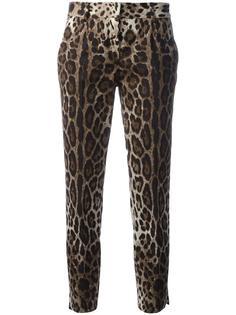 укороченные брюки с леопардовым узором Dolce & Gabbana