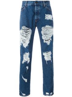 джинсы скинни с рваной отделкой Palm Angels