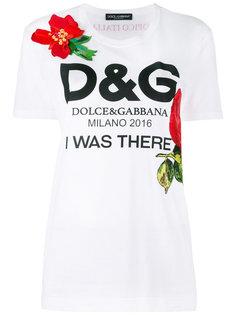 футболка с логотипом и цветами Dolce & Gabbana