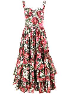 платье без рукавов с принтом роз Dolce & Gabbana