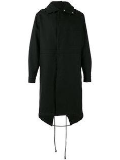 пальто с капюшоном и принтом сзади  Raf Simons