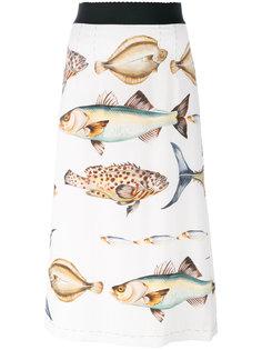 юбка с принтом рыб Dolce & Gabbana