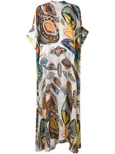 шелковое платье с рисунком в виде НЛО Christopher Kane