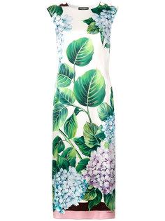 платье с принтом гортензии Dolce & Gabbana