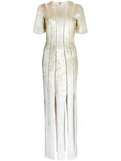 платье с пайетками и разрезом  Oscar de la Renta