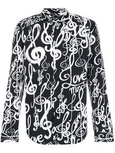 рубашка с принтом скрипичных ключей Love Moschino