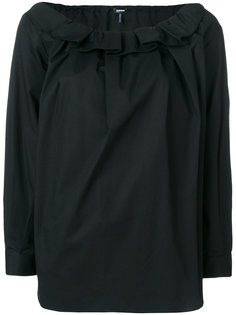 блузка с оборками на вырезе Jil Sander Navy