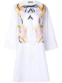 платье с вышивкой и шнуровкой Emilio Pucci