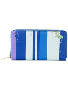 полосатый континентальный кошелек с принтом рыб Emilio Pucci