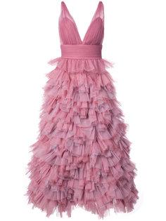 вечернее платье с оборчатой А-образной юбкой Marchesa Notte