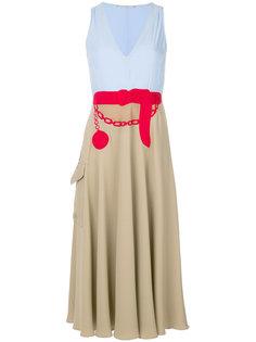 платье дизайна колор-блок с вышивкой Marco De Vincenzo