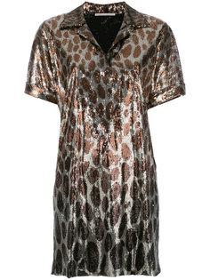 леопардовое платье-поло с пайетками Marco De Vincenzo