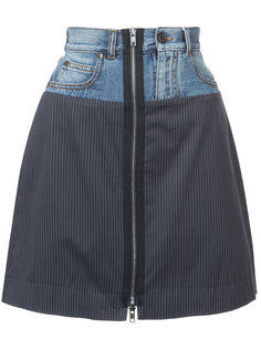 мини-юбка в полоску с джинсовым поясом Maison Margiela