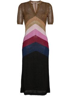 полосатое платье с V-образным вырезом Marco De Vincenzo