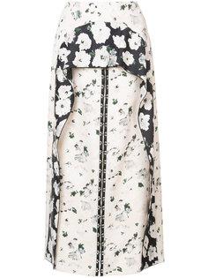 юбка с цветочным рисунком и драпировками Proenza Schouler