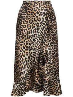 юбка с леопардовым узором Ganni