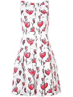 плиссированное платье с цветочным принтом  Oscar de la Renta
