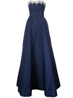 платье без бретелек с отделкой  Oscar de la Renta