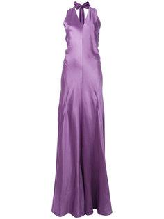 удлиненное расклешенное платье с вырезом-петлей халтер Alberta Ferretti