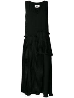 плиссированное асимметричное платье с заниженной талией  Mm6 Maison Margiela