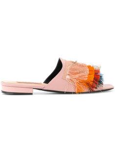 fringed slide sandals Coliac