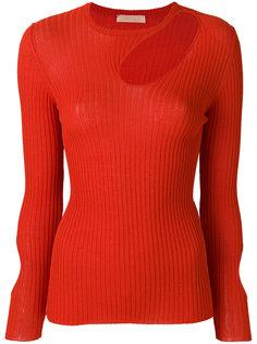 свитер в рубчик с асимметричным вырезом  Drome