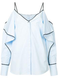 рубашка с оборками и открытыми плечами Mugler