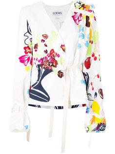блузка с цветочным принтом и поясом Loewe