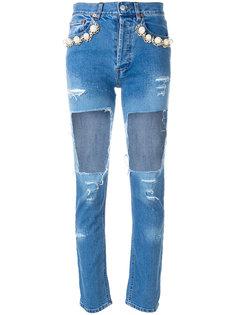 джинсы с рваной отделкой Forte Couture