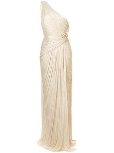 вечернее платье на одно плечо со сборками Maria Lucia Hohan