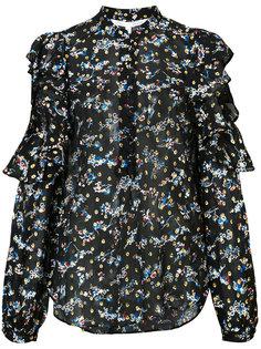полупрозрачная блузка с цветочным рисунком и вышивкой Veronica Beard